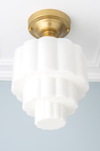 Three Tier Globe Light - Flush Mount Light - Unique Ceiling Light - Art Deco Interior - Retro Lighting - Model No. 6471