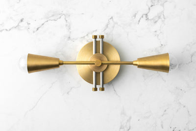 Brass Cone Vanity - Bathroom Lighting - Vanity Light Fixture - Unfinished Brass - Wall Lighting - Model No. 2986