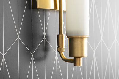 Modern Art Deco - Vanity Light - Modern Vanity Sconce - Tube Light - Opal Vanity Light - Modern Brass Fixture - Model No. 1210