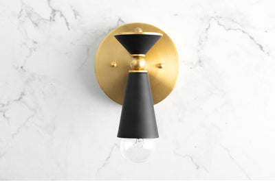 Art Deco Sonce - Black and Brass Sconce - Bathroom Sconce - Bathroom Lighting - Art Deco Lighting - Modern Lighting - Model No. 8393