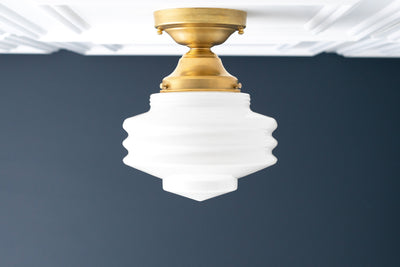 Opal Ceiling Light - Semi Flush Light - Retro Light Fixture - Textured Globe - Brass Ceiling Lamp - Model No. 7510