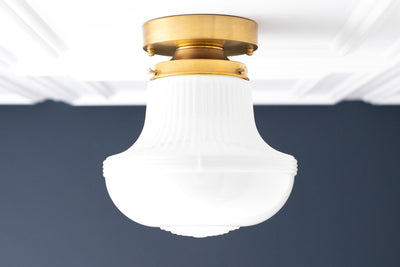 Scalloped Glass - Opal White Globe - Deco Ceiling Light - Retro Lamp - Flush Mount Light - Light Fixture - Model No. 4952