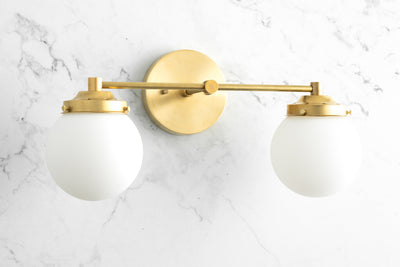 Frosted Globe Vanity Light - Art Deco Lighting - Modern Lighting - Bathroom Lighting - Vanity Fixture - Art Deco Vanity - Model No. 2424