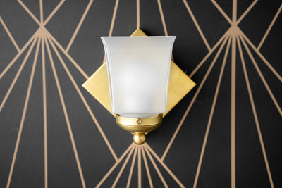 Deco Sconce - Brass Wall Sconce - Geometric Light - Frosted Glass - Art Deco - Minimalist Light - Small Sconce - Model No. 2815