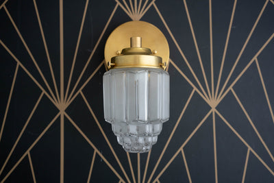 Wall Light - Art Deco - Art Deco Lights - Art Deco Sconces - Brass Sconce - Skyscraper Shade - 1920s - Glam - Model No. 6130