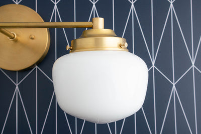 Schoolhouse Shade - Vanity Light - Globe Vanity - Opal Glass - Brass Vanity - Vanity Lighting - Bathroom Lights - Model No. 5799