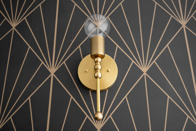 Art Deco Wall Light - Gold Sconce - Geometric - Wall Sconce - Deco Lighting - Brass Fixture - Modern Wall Lights - Model No. 4014