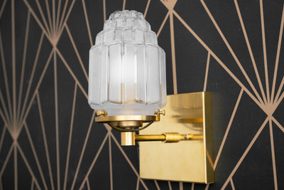 Art Deco Sconce - Deco Wall Lamp - Art Deco Fixtures - Skyscraper - Brass Wall Fixture - Brass Light - 1920s Light - Glam - Model No. 5513
