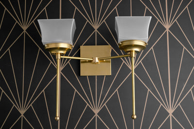 Double Sconce - Wall Fixture - Brass Wall Light - 2 Arm - Frosted Glass - Art Deco - Torch Light - Art Deco Sconce - Model No. 1637