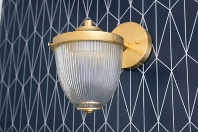 Brass Sconce - Art Deco - Ribbed Glass - Brass Wall Light - Art Deco Sconce - Deco Wall Lamp - Art Deco Fixture - Model No. 0867