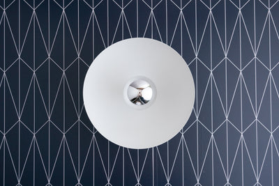 Modern Wall Light - Contemporary Sconce - Mod Lighting - Minimalist Light - White Sconce - White Fixture - Reflective Bulb - Scandinavian