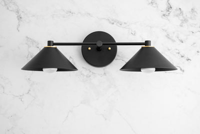 Black Vanity Light - Art Deco - Deco Bathroom - Geometric - Brass Accent - Black Bathroom Light - Modern Vanity Light - Model No. 5873