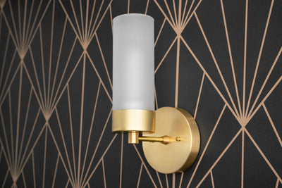 Glass Tube - Wall Sconce - Frosted Glass Light - Brass Wall Light - Glass Cylinder - Tube Sconce - Wall Fixture - Model No. 7954