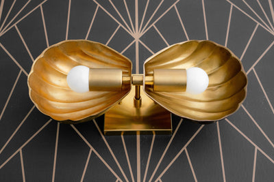 Deco Vanity - Shell Light - Art Deco Shell - Retro Fixture - Bathroom Lighting - Brass Vanity Light - Low Profile - Scallop