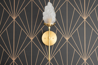 Deco Wall Light - Art Deco Sconce - Torch Light - Flame Shade - Art Glass Light - Wall Sconce Light - Unfinished Brass - Torch Light