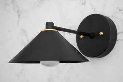 Black Sconce - Art Deco Lighting - Brass Sconce Light - Plug In Wall Sconce - Modern Sconce - Wall Lamp - Brass Accent - Model No. 2488