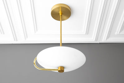 Modern Pendant Light - Minimalist - Pendant Fixture - Brass Pendant Light - Glass Shade - Lighting - Pendant Light - Model No. 0238