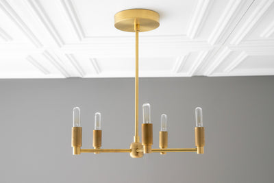 Brass Chandelier - Hanging Lights - Modern Chandelier - Light Fixture - Modern Lighting - Dining Room Light - Brass Light - Model No. 5430