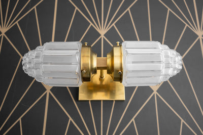Deco Wall Sconce - Brass Sconce - Art Deco Globe - Wall Lamp - Art Deco Bathroom - Gold Wall Light - 1930s - Art Deco - Model No. 7180