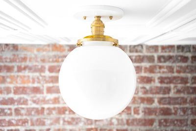 8 Inch White Globe - Glass Ceiling Light - Flush Mount Light - Modern Brass Light - Light Fixture - Model No. 1081