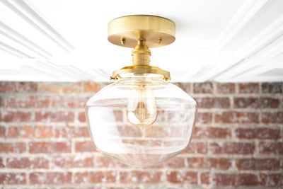 Schoolhouse Light - Modern Ceiling Light - Glass Fixture Ceiling - Brass Black Lighting - Model No. 8605