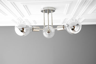 Ceiling Light - Chrome -  Fixture - Ceiling Fixtures - Polished Nickel - Chrome Fixture - Mirror Bulb - Globe Ceiling Light - Model No. 2468