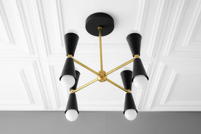 Chandelier - Black Brass - Geometric Chandelier - Handing Light - Mid Century Lighting - 1950s - Modern Chandelier - Model No. 7458