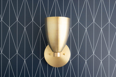 Cone Shade Sconce - Art Deco Lighting - Geometric Wall Light - Black and Brass Sconce - Hardwired Wall Light - Model No. 1748