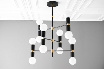 Chandelier Lighting - Modern Chandelier - White Globe - Art Deco - Dining Table Light - Mid Century - Light Fixtures - Model No. 6975