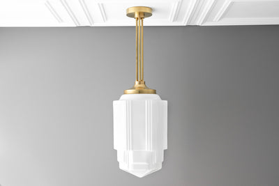 Art Deco - Pendant Light - Large Shade - Opal Glass - Art Deco Lighting - 1920's - Hanging Light - Skyscraper - Model No. 0262