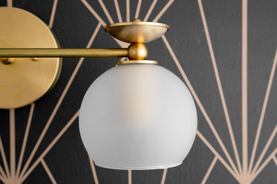 Vanity Fixture - Etched Globe - Art Deco Vanity - Vanity Lighting Deco - Brass Wall Fixtures - Frosted Glass - Orb - Model No. 8497