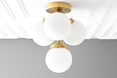 Frosted Globe Flush Mount - Flush Mount Light - Ceiling Light - Ceiling Lamp - Art Deco Light - Hallway Lighting - Art Deco - Model No. 6641