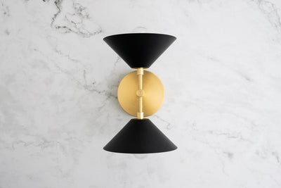 Brass Black Sconce - Mid Century Lighting - Modern Wall Lights - Accent Sconce - Mirror Side Light - Vanity Sconces - Model No. 1892