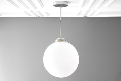 Frosted Glass Light - 12 Inch Globe - Art Deco Lighting - Flush Mount light - Large Pendant Light - Model No. 6058