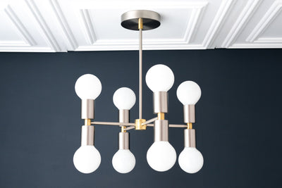 8 Bulb Chandelier - Mixed Metal Light - Modern Chandelier - Hanging Lamp - Ceiling Lights - Chandelier Lighting - Model No. 2724
