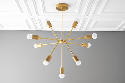 Sputnik Light - Brass Chandelier - Mid Century Lighting - Atomic Age - Dining Room Lights - Mid Century Fixture - Model No. 3200