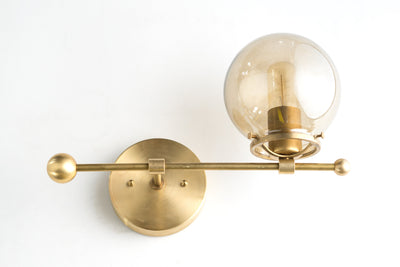 Wall Sconce - Smoked Globe Sconce - Counter Balance - Wall Lighting - Unique Lighting - Modern Wall Light - Model No. 4353