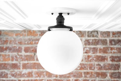 White Ball Light - Flush Mount Ceiling Light - Glass Pendant Globe - Semi Flush Light - Mid Century Globe - Model No. 1081