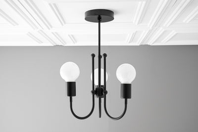 Chandelier - Matte Black - Art Deco - Ceiling Lighting - Light Fixture - Unique Lights - Modern Victorian - Model No. 6771