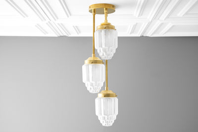 Hanging Lights - Frosted Glass - Skyscraper Shade - Art Deco Chandelier - Ceiling Lights - Unique Lighting - Model No. 7948