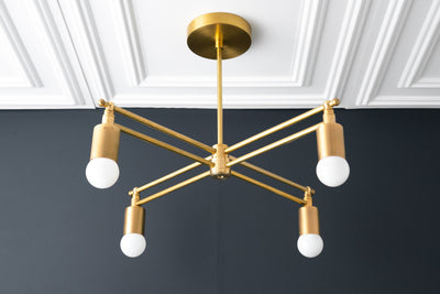 Gold Chandelier - Brass Lighting - Kitchen Chandelier - Modern Ceiling Light - Art Deco Lamps - Ceiling Chandelier - Model No. 4465