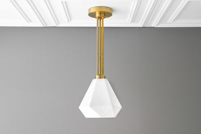 Brass Pendant - Hanging Lamp - Modern Hanging Light - White Ceiling Light - Geometric - Opal - Glass Pendant Light - Model No. 1513