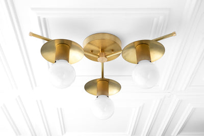 3 Bulb Ceiling Light - Decorative Lighting - Unfinished Brass - Semi Flush Light - Model No. 2292