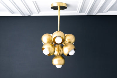 Brass Ball Light - Unique Lighting - Brass Chandelier - Cluster Light - Cluster Chandelier - Art Deco Lighting - Model No. 6889