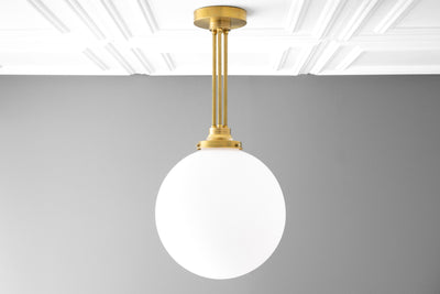 Large Globe Light - Frosted Glass - Brass Pendant Light - Matte White Glass Globe - Kitchen Pendant - 12 Inch Globe - Model No. 6495