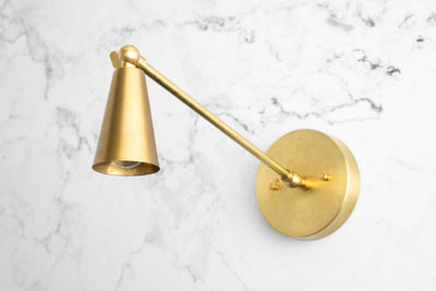 Brass Cone Sconce - Wall Sconce Light - Swing Arm Sconce - Art Deco Sconce - Modern Sconce - Art Deco Lighting - Model No. 6341