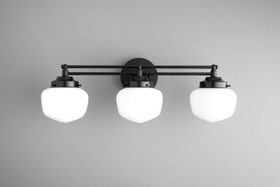 Schoolhouse Shade - Vanity Light - Globe Vanity - Opal Glass - Brass Vanity - Vanity Lighting - Bathroom Lights - Model No. 4352