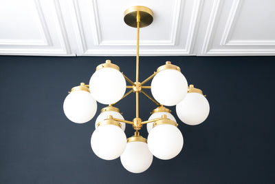 Satin Glass Light - Multi Globe - Large Chandelier - Foyer Light - Globe Chandelier - Light Fixture - Modern Chandelier - Model No. 8056