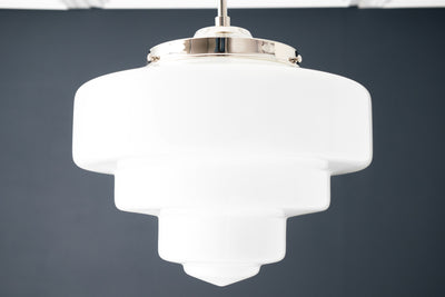 Pendant Light - Art Deco Shade - Opal Glass - Ceiling Light - Art Deco Lighting - White Glass - Brass Pendant Light - Model No. 7458