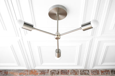 Modern Chandelier Gold - Brass Sputnik - Industrial Hanging Light - Mid-Century Modern - Semi Flush Lights - Model No. 6854